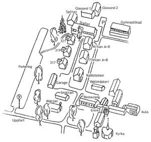 Karta över Strömbäcks folkhögskola