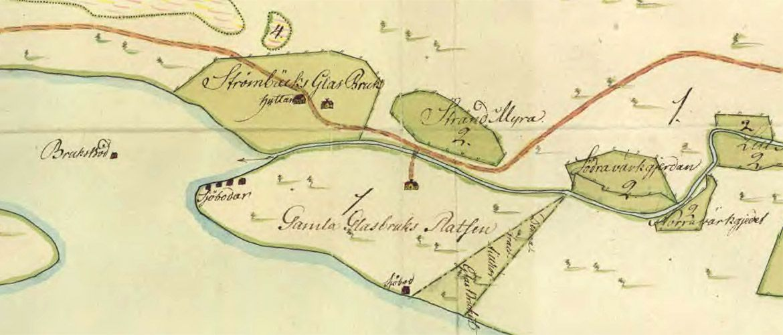 Strömbäcks glasbruk lantmäteriets karta från 1783